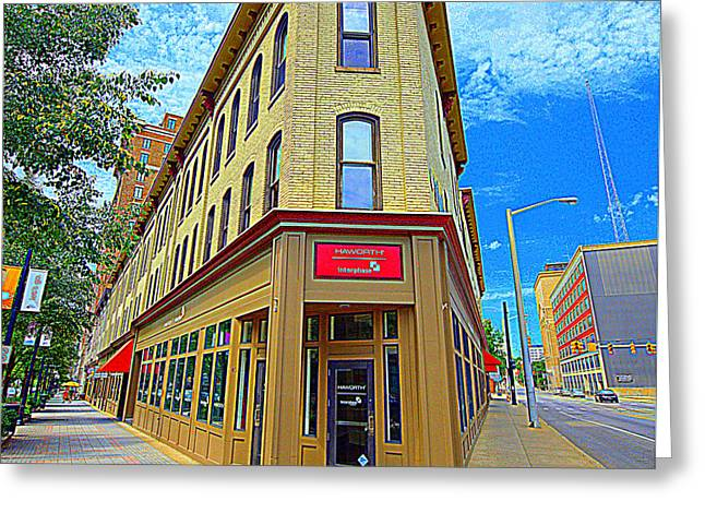 Midwest Flat Iron Building Greeting Card by Garry Schmidt