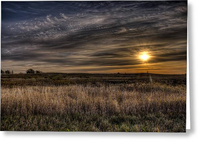 Midwest Sunrise Greeting Card by Jeff Burton