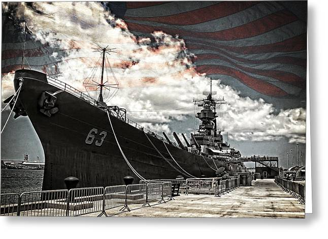 Mighty Mo U.s.s. Missouri Greeting Card by Ken Smith