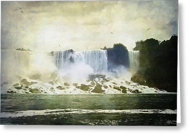 Mighty Niagara Greeting Card by Lianne Schneider