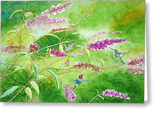 Mighty Wings - Hummingbirds Greeting Card by Kathryn Duncan