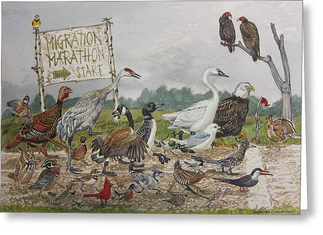 Migration Marathon Greeting Card by Christopher  Cudworth