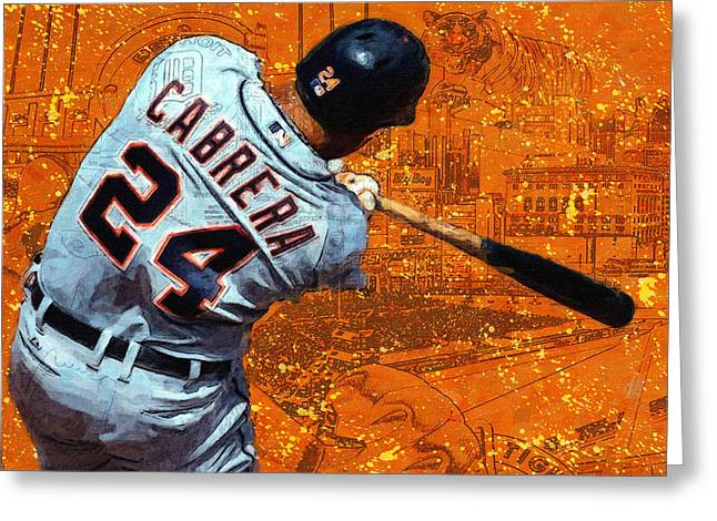 Miguel Cabrera A Slugger Greeting Card by John Farr