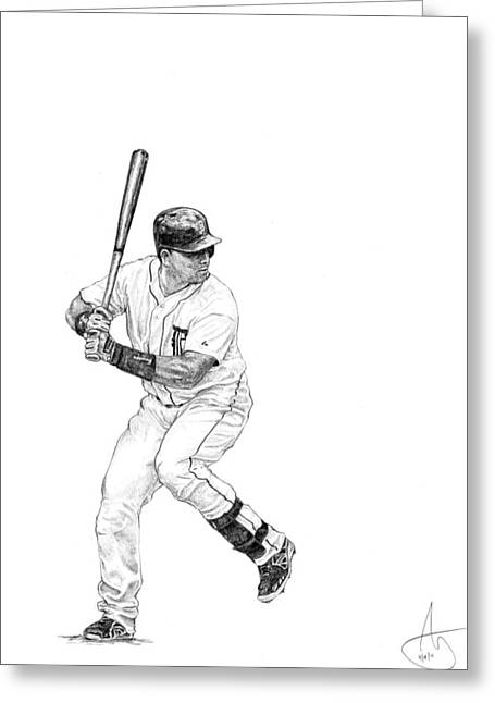 Miguel Cabrera Greeting Card by Joshua Sooter
