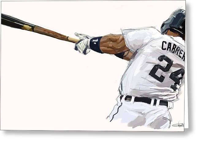 Miguel Cabrera Mash Greeting Card by Chris Ross