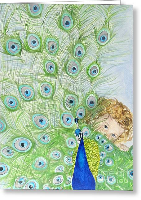 Mika And Peacock Greeting Card