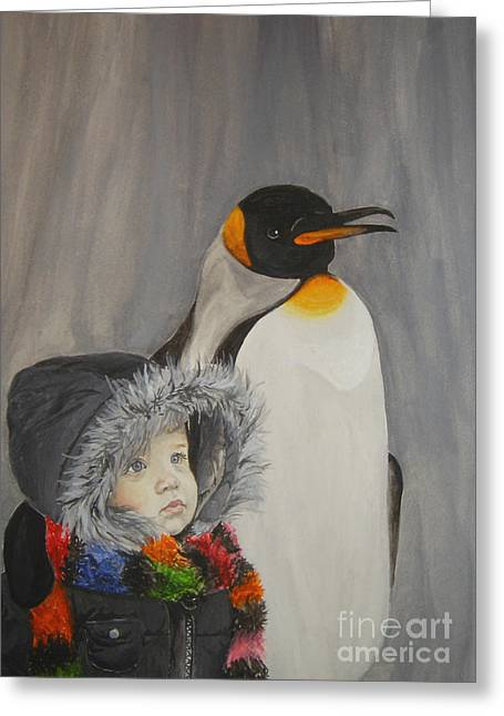 Mika And Penguin Greeting Card