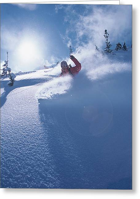 Mike Carving Fresh Snow In Big Greeting Card by Howie Garber