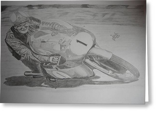 Mike Hailwood Greeting Card by Jose Mendez