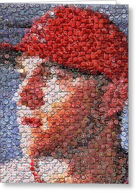Mike Trout Bottle Cap Mosaic Greeting Card by Paul Van Scott