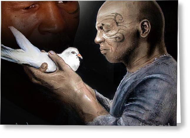 Mike Tyson And Pigeon II Greeting Card by Jim Fitzpatrick