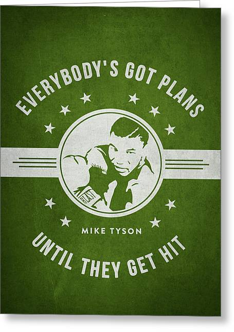Mike Tyson - Green Greeting Card
