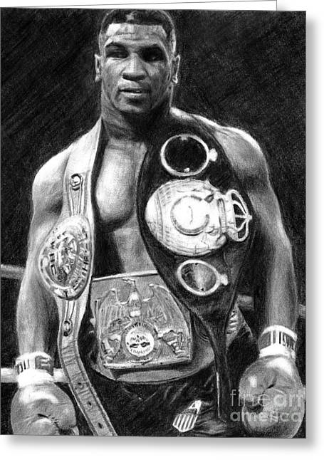 Mike Tyson Pencil Drawing Greeting Card