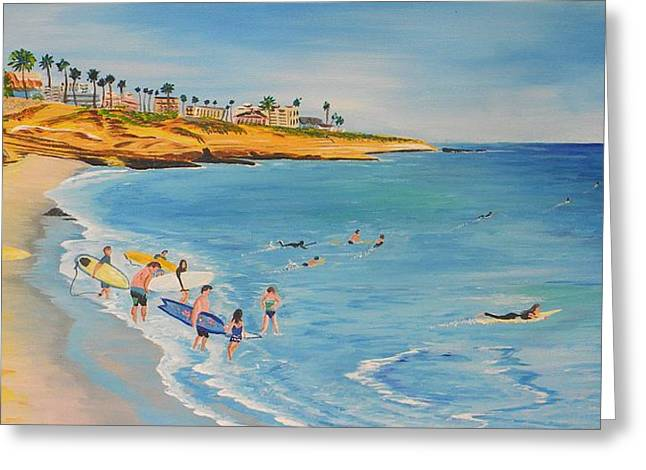 Mikeys Paddle Out Greeting Card by Eric Johansen