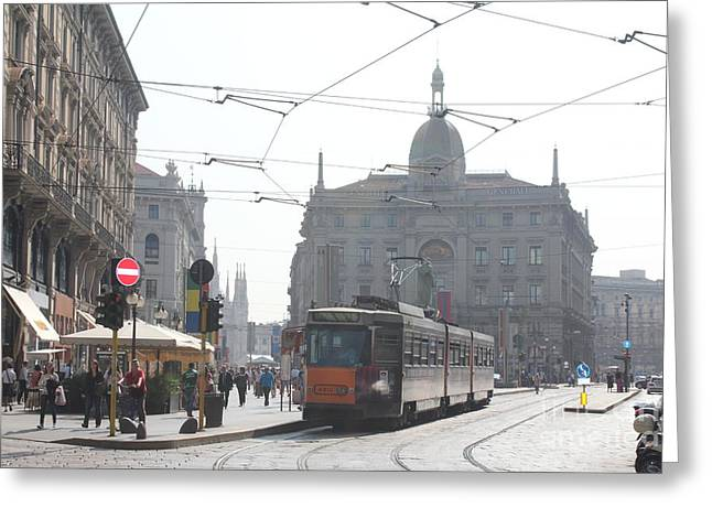 Milan Tram Greeting Card by David Grant