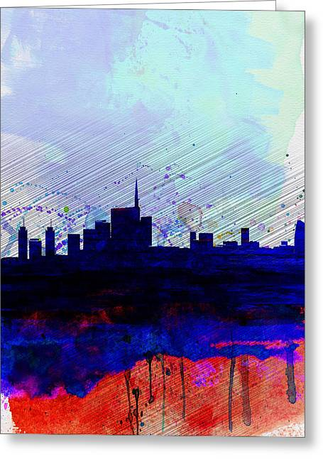 Milan Watercolor Skyline Greeting Card by Naxart Studio