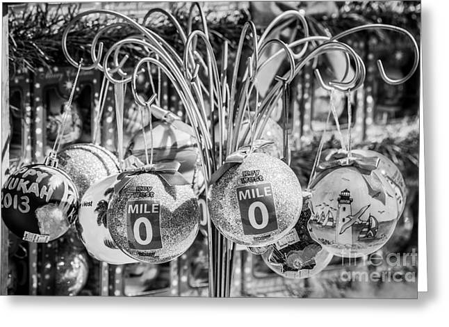 Mile Marker 0 Christmas Decorations Key West 2 - Black And White Greeting Card by Ian Monk