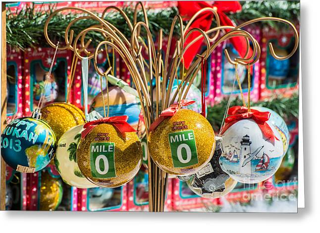 Mile Marker 0 Christmas Decorations Key West 2 Greeting Card by Ian Monk