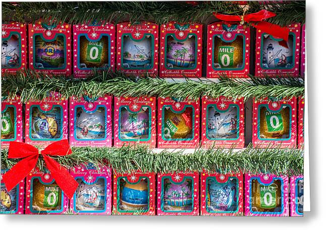 Mile Marker 0 Christmas Decorations Key West Greeting Card by Ian Monk