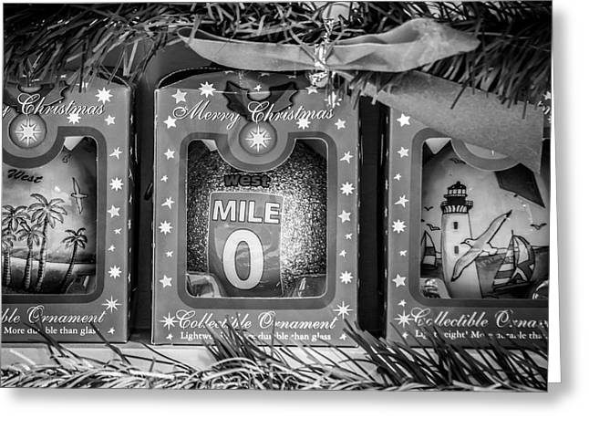 Mile Marker 0 Christmas Decorations Key West - Square - Black And White Greeting Card by Ian Monk