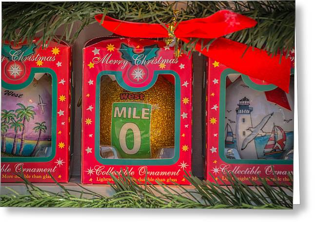 Mile Marker 0 Christmas Decorations Key West - Square - Hdr Style Greeting Card by Ian Monk