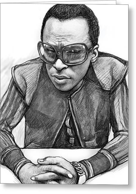 Miles Davis Art Drawing Sketch Portrait Greeting Card by Kim Wang