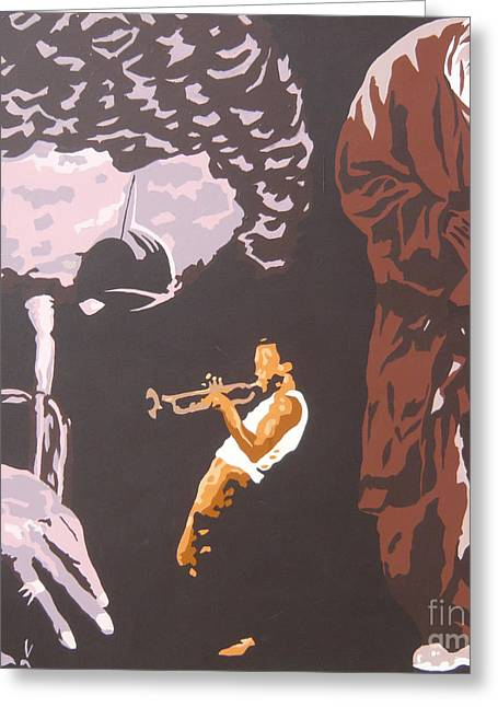 Miles Davis II Greeting Card by Ronald Young