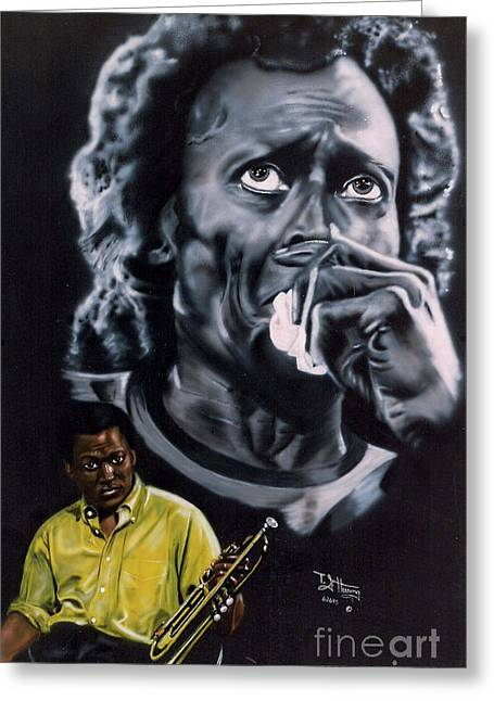 Greeting Card featuring the painting More Miles Of Davis by Thomas J Herring