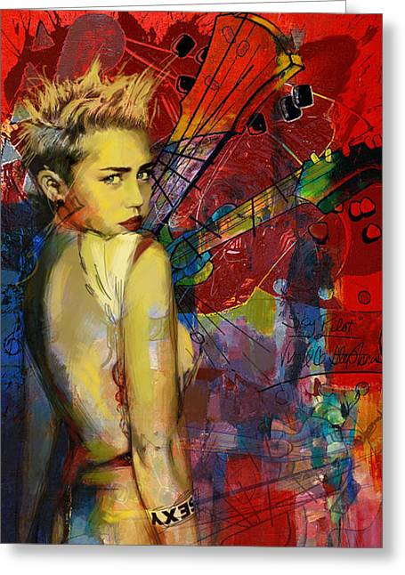 Miley Cyrus Greeting Card by Corporate Art Task Force
