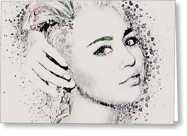 Miley Cyrus Greeting Card by Gillian Singleton