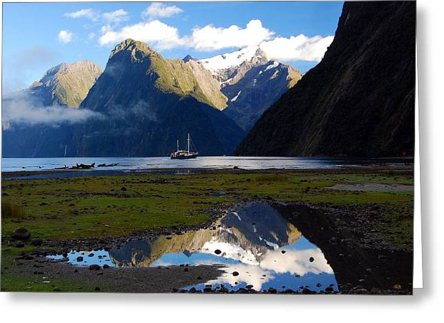 Greeting Card featuring the photograph Milford Sound by Cascade Colors