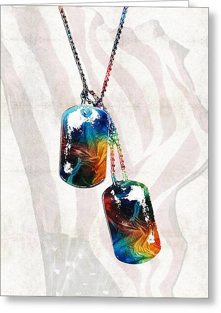 Military Art Dog Tags - Honor - By Sharon Cummings Greeting Card by Sharon Cummings