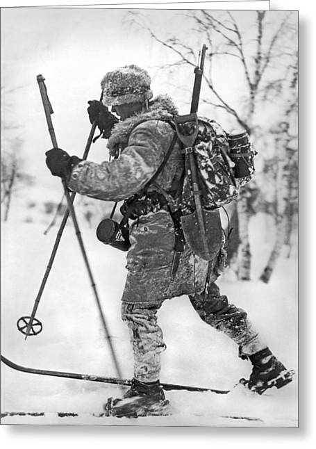 Military Cross Country Skiing Greeting Card by Underwood Archives