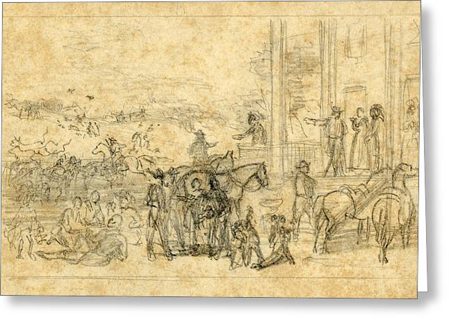 Military Encampment At Plantation House, 1864, Drawing Greeting Card by Quint Lox