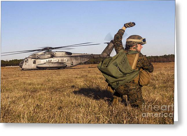 Military Policeman Signals To The Other Greeting Card by Stocktrek Images