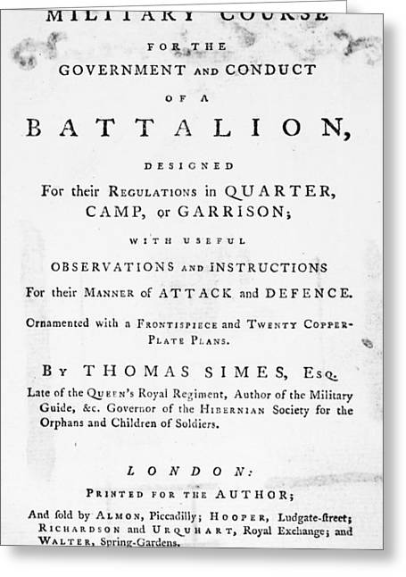 Military Text Book, 1777 Greeting Card