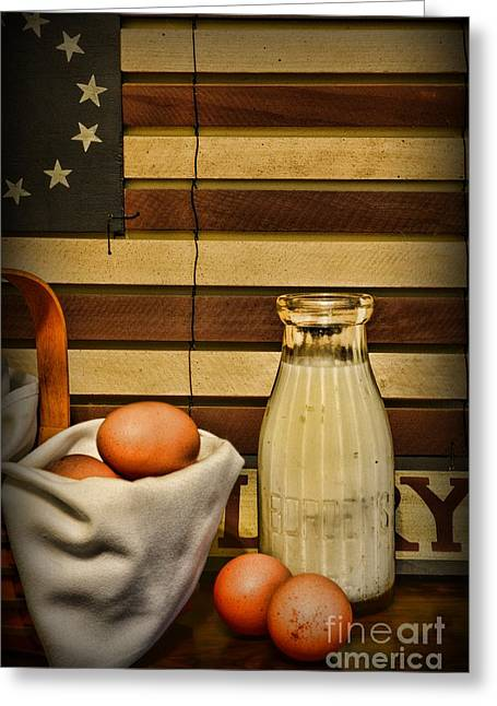 Milk And Eggs Greeting Card