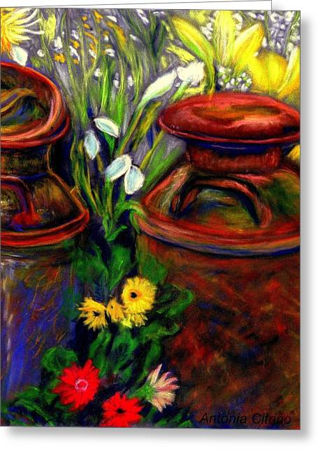 Milk Cans At Flower Show Sold Greeting Card