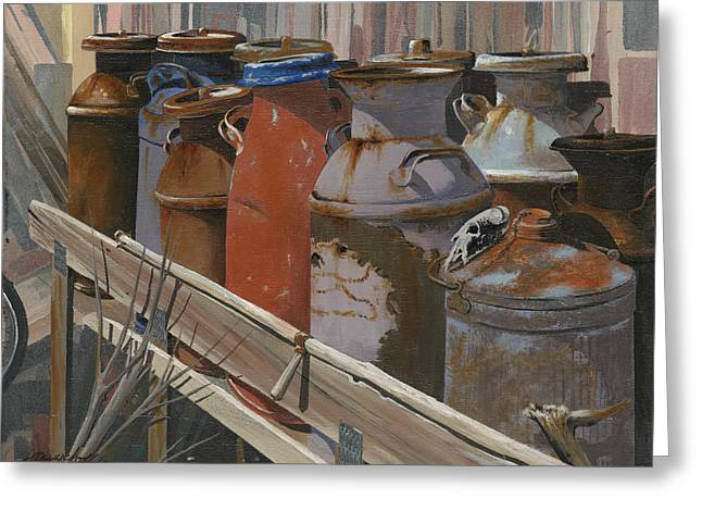 Milk Cans Greeting Card by John Wyckoff