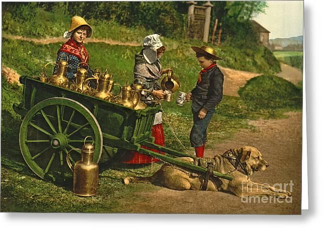 Milk Sellers Brussels Belgium 1890 Greeting Card by Padre Art