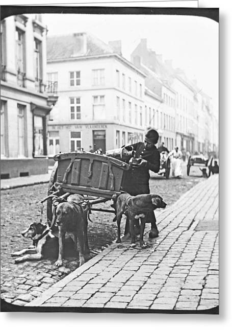 Greeting Card featuring the photograph Milk Wagon Street Scene Germany C 1900 Vintage Photo by A Gurmankin
