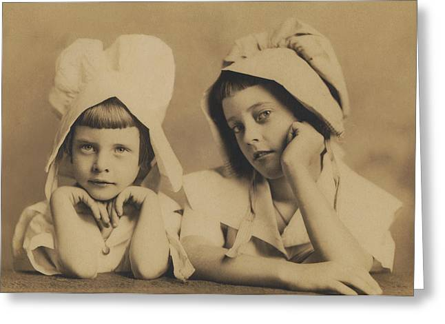 Milkmaid Sisters Greeting Card by Paul Ashby Antique Image