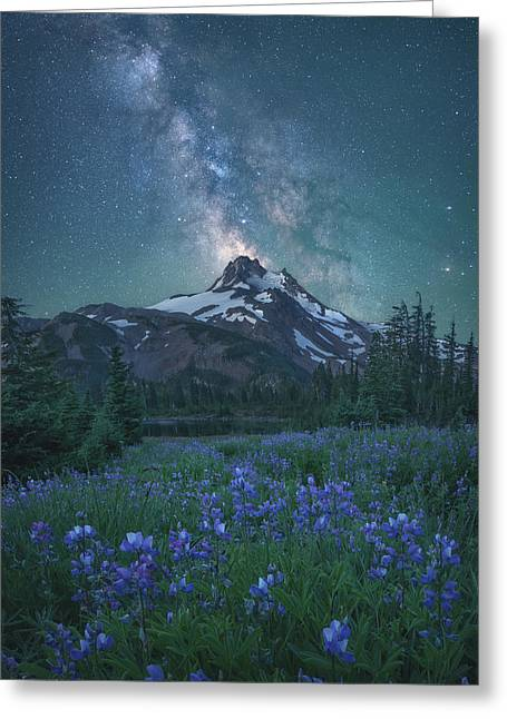 Milky Way Above Mt. Jefferson Greeting Card