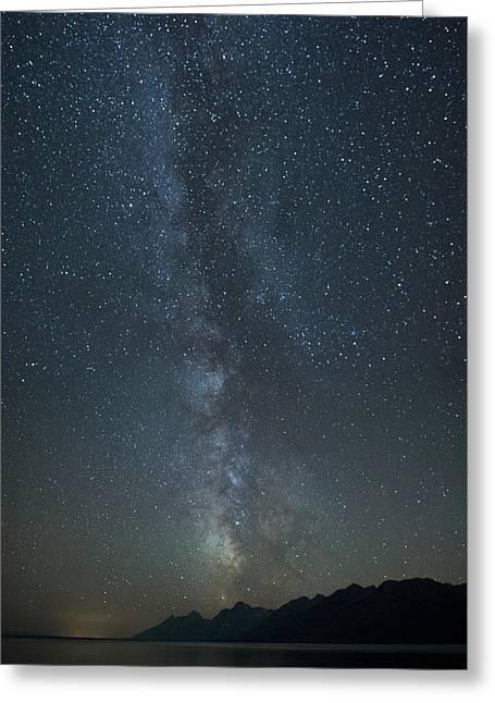 Milky Way Above The Teton Mountain Greeting Card