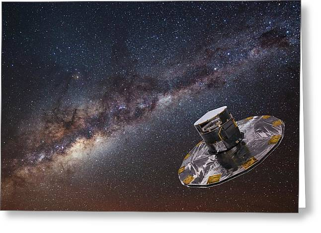 Milky Way And Gaia Satellite Greeting Card by European Space Agency,d. Ducros