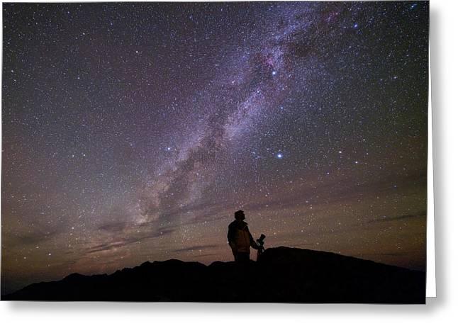 Milky Way And Photographer Greeting Card by Babak Tafreshi