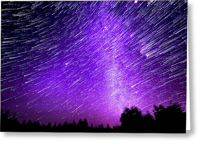 Milky Way And Star Trails Greeting Card by Aaron Priest