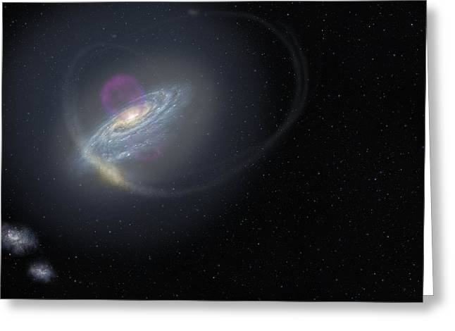 Milky Way And Surrounding Dwarf Galaxies Greeting Card