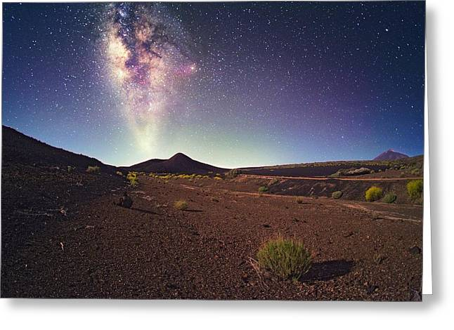 Milky Way And Tenerife Volcanoes Greeting Card