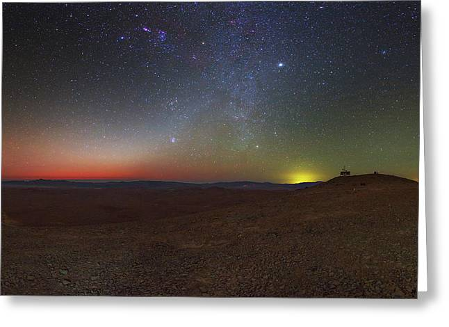 Milky Way And Zodiacal Light At Dusk Greeting Card